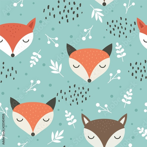 fototapeta na lodówkę Cute fox seamless pattern, wolf hand drawn forest background with flowers and dots, vector illustration