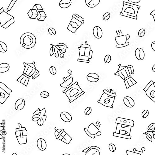 Tapety z jedzeniem i napojami bezszwowy-wzor-z-kawa-czarny-i-bialy