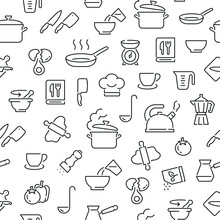 Seamless Pattern With Cooking. Black And White Thin Line Icons
