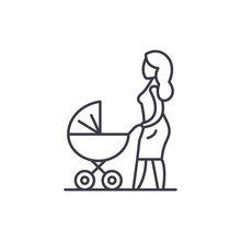 Mom With A Baby Carriage Line Icon Concept. Mom With A Baby Carriage Vector Linear Illustration, Sign, Symbol