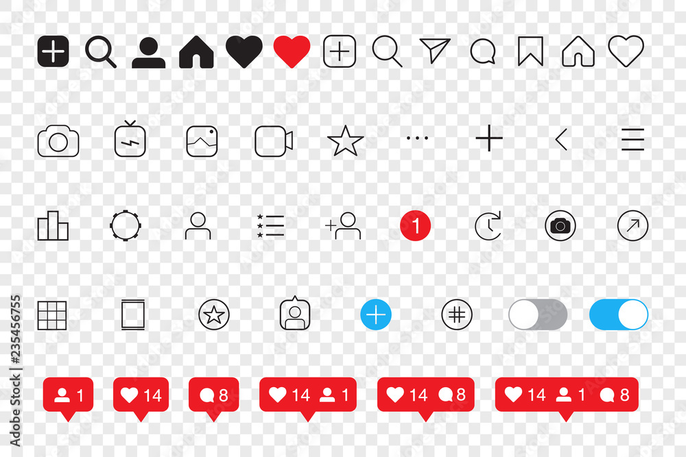 Fototapety, obrazy: Set of social media icons inspired by Instagram: like, follower, comment, home, camera, user, search. EPS10 Vector illustration
