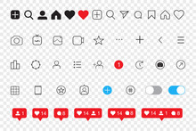 Set Of Social Media Icons Inspired By Instagram: Like, Follower, Comment, Home, Camera, User, Search. EPS10 Vector Illustration
