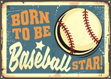 Born To Be Baseball Star Motiv...