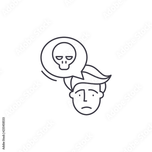Panic Line Icon Concept Panic Vector Linear Illustration Sign