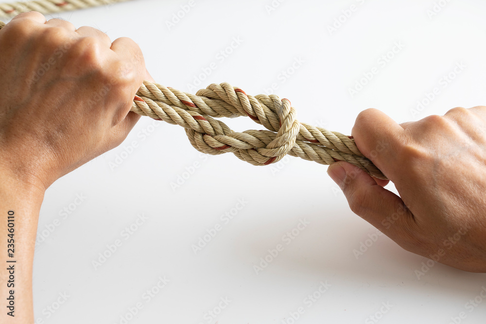 Fototapeta Man checking rope Knot