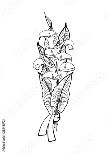 Black Graphic Drawing Of Bouquet Of Festive Glamour Southern