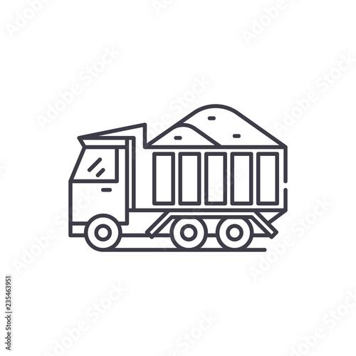 In de dag Cartoon draw Sand machine line icon concept. Sand machine vector linear illustration, sign, symbol
