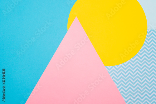 Fotografia  Texture background of fashion blue, yellow and purple papers in memphis geometry style