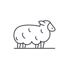 Sheep line icon concept. Sheep vector linear illustration, sign, symbol