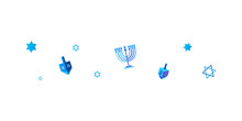 Israel 70 Jewish Holiday Hanukkah Border Frame Traditional Chanukah Symbols Icons Wooden Dreidel, Donut, Menorah Candles, Israeli Blue Star David Glowing Lights Pattern Vector