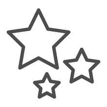 Stars Line Icon. Three Stars Vector Illustration Isolated On White. Christmas Decoration Outline Style Design, Designed For Web And App. Eps 10.