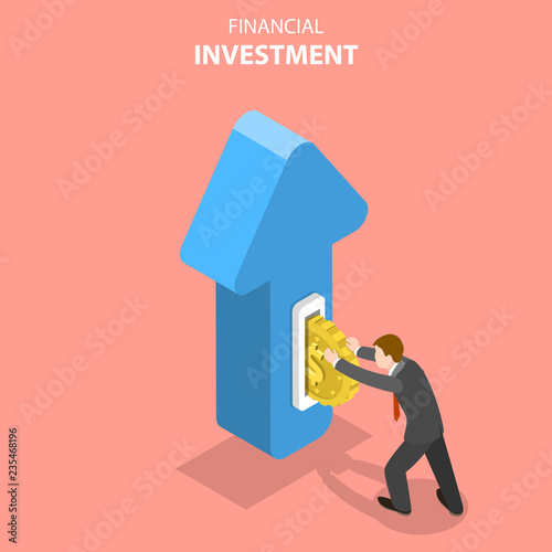 Foto  Flat isometric vector concept of financial investment, marketing analysis, investing opportunity