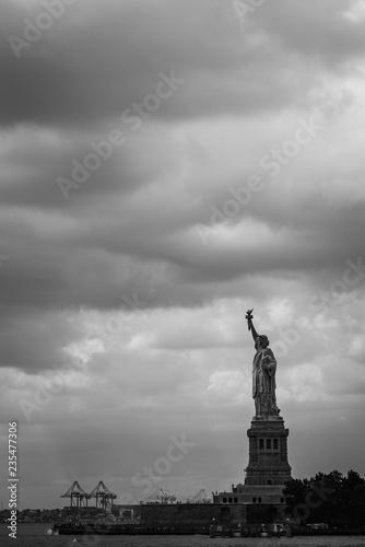 Freiheitsstatue über New York schwarz weiß
