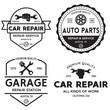 Set of vintage monochrome car repair service templates of emblems, labels, badges and logos. Service station auto parts tires shop mechanic on duty.
