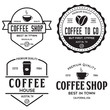 Set of Coffee shop logotype templates. Coffee related emblems labels badges signs. Coffee to go.