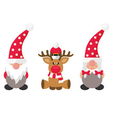 Cartoon Christmas Dwarf Boy An...