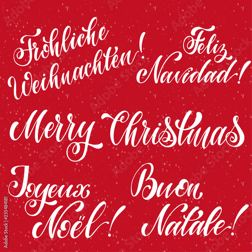 Merry Christmas Lettering on english
