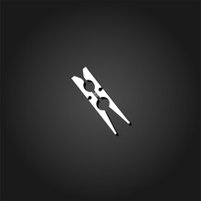 Clothespin Icon Flat. Simple W...