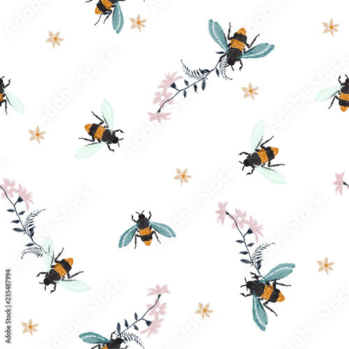 Cotton fabric Embroidery honey bee,with flowers Fashion patch with insects illustration. Seamless pattern backdrop.