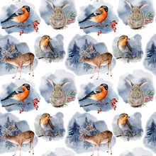 Watercolor Pattern With Animals And Birds In Winter Forest. Hand Painted Deer, Hare, Billfinch, Robin And Pine Trees Isolated On White Background.  Holiday Clip Art For Design, Print, Fabric
