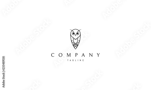 Spoed Foto op Canvas Uilen cartoon Owl line vector logo image