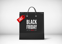 Black Paper Bag With Tag Sale And Text. Black Friday Banner Template. Vector Illustration Isolated On Transparent Background