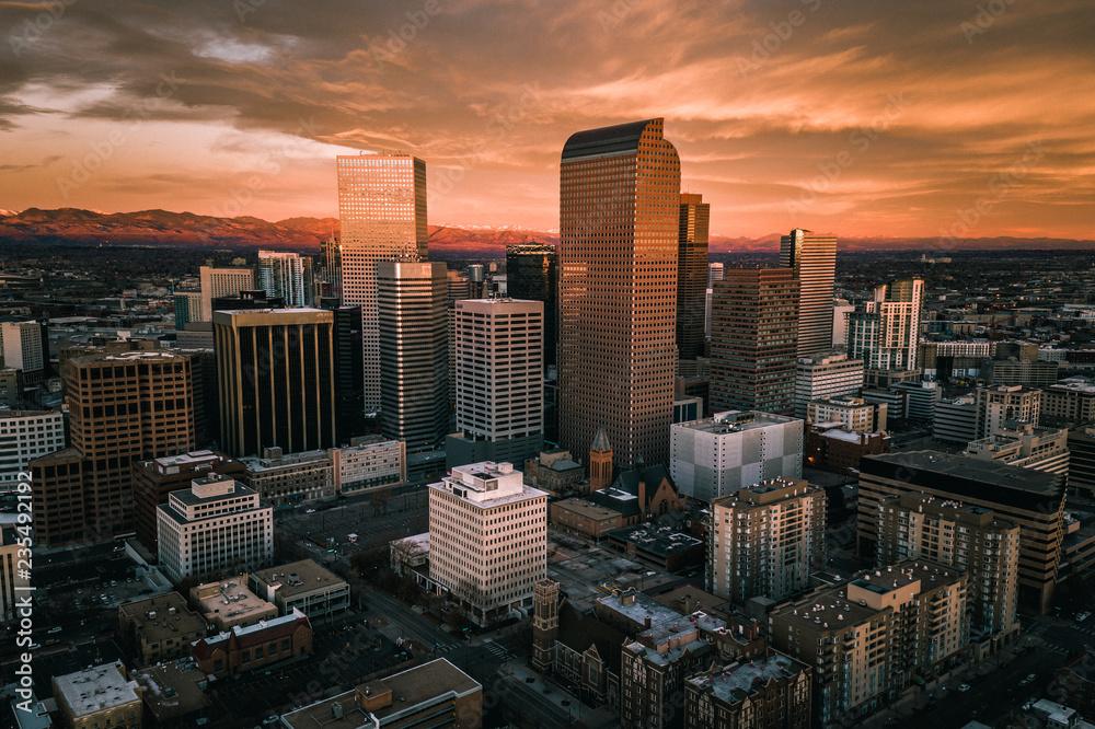 Aerial drone photo - Sunrise over the city of Denver Colorado