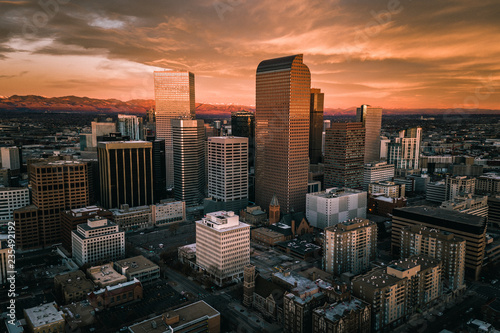 Aerial drone photo - Sunrise over the city of Denver Colorado	 #235492192