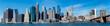 Panoramic view of New York Manhattan skyline and Brooklyn bridge.