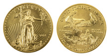 Golden American Eagle Coins On...