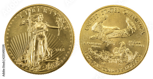 Poster Aigle golden american eagle coins on white background