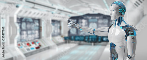 Photo White male cyborg pointing his finger 3D rendering