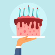 Birthday Cake Concept Background. Flat Illustration Of Birthday Cake Vector Concept Background For Web Design