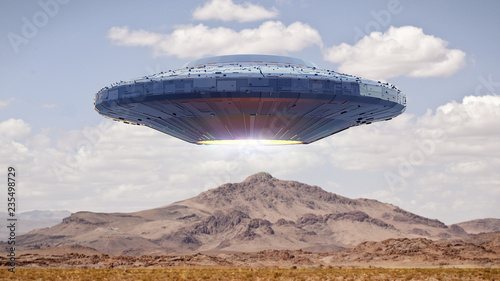 Canvas Print UFO, science fiction scene with alien spaceship, extraterrestrial visitors in fl