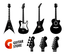 Set Of Guitar Silhouettes Black Color Isolated On White - Electric And Acoustic Guitars And Logo For Music Store.