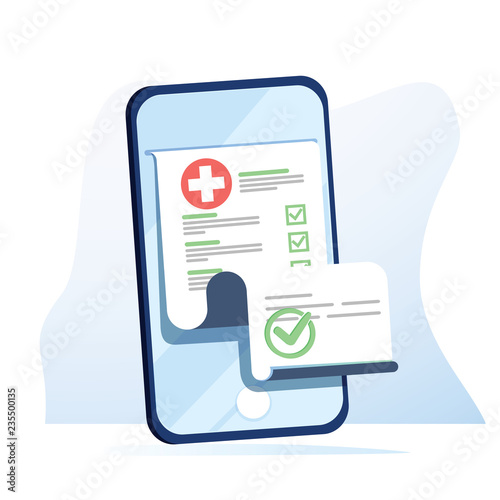 Medical form list with results data and approved check mark on mobile phone vector, flat cartoon clinical checklist - fototapety na wymiar