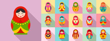 Nesting Doll Icon Set. Flat Set Of Nesting Doll Vector Icons For Web Design
