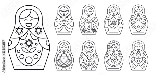 Photo Russian matryoshka icon set