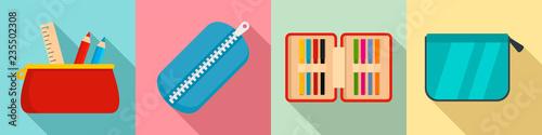 Fotografía Pencil case icon set