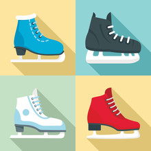 Ice Skates Icon Set. Flat Set ...