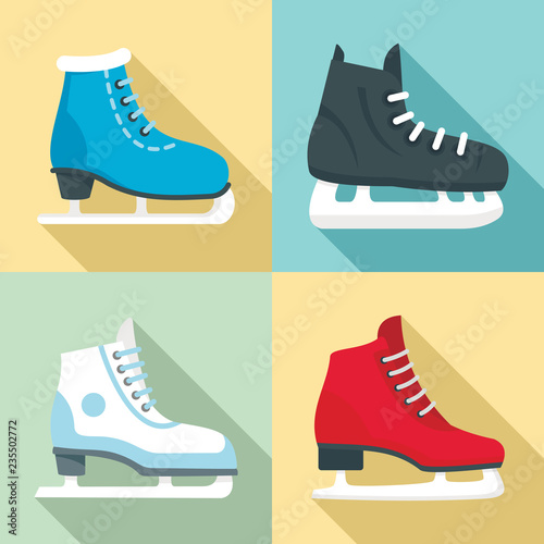 Fotografie, Tablou Ice skates icon set