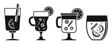 Hot Mulled Wine Icon Set. Simple Set Of Hot Mulled Wine Vector Icons For Web Design On White Background