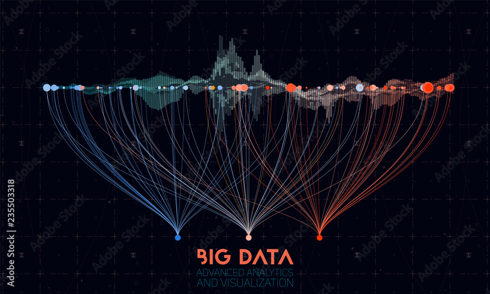 Fototapeta Vector abstract colorful big data information sorting visualization. Social network, financial analysis of complex databases. Visual information complexity clarification. Intricate data graphic