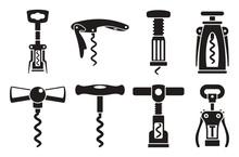 Corkscrew Opener Icon Set. Sim...