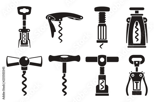 Fotomural Corkscrew opener icon set