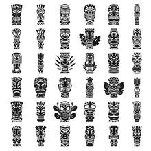 Tiki Idols Icon Set. Simple Se...