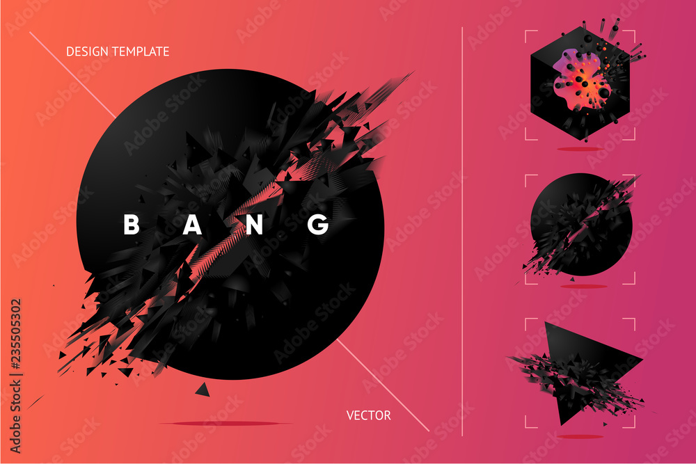 Fototapety, obrazy: Abstract explosion shapes set with black particles. Bang futuristic design elements collection. Design templates.