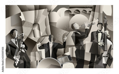 Printed kitchen splashbacks Art Studio Jazz band in Paris