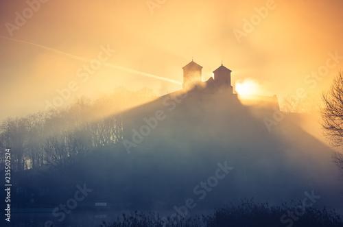 Krakow, Poland, abbey in Tyniec misty sunrise Wallpaper Mural