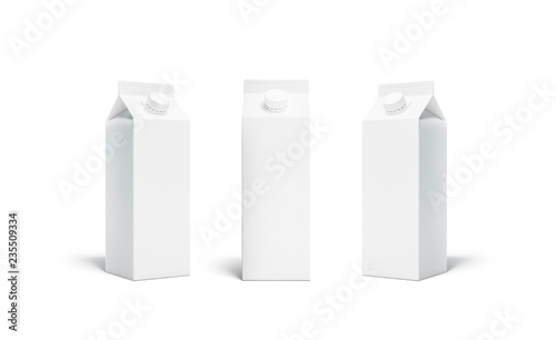 Fotografiet  Blank white rex juice or milk pack lid mockup set